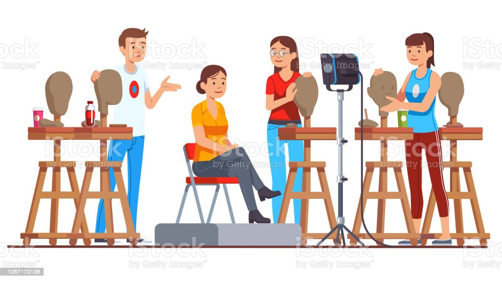 Sculpture class group working indoors in small studio moulding model's head figures learning sculpting. Teacher explaining. Man and woman artists. Sculptor workplace. Flat style isolated vector векторная иллюстрация