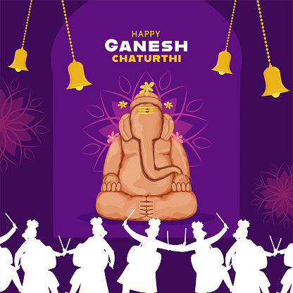 Sculpture Of Ganesha Made By Soil With Hanging Bells And Silhouette People Playing Dhol On Purple Background For Ganesh Chaturthi Celebration.