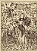 Scythe. Mystic concept for Lenormand oracle tarot card.