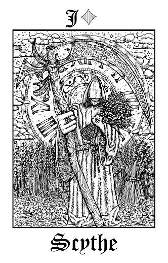 Scythe. Tarot card from vector Lenormand Gothic Mysteries oracle deck.