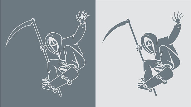 scytheman makes jump on skateboard - old man mask stock illustrations