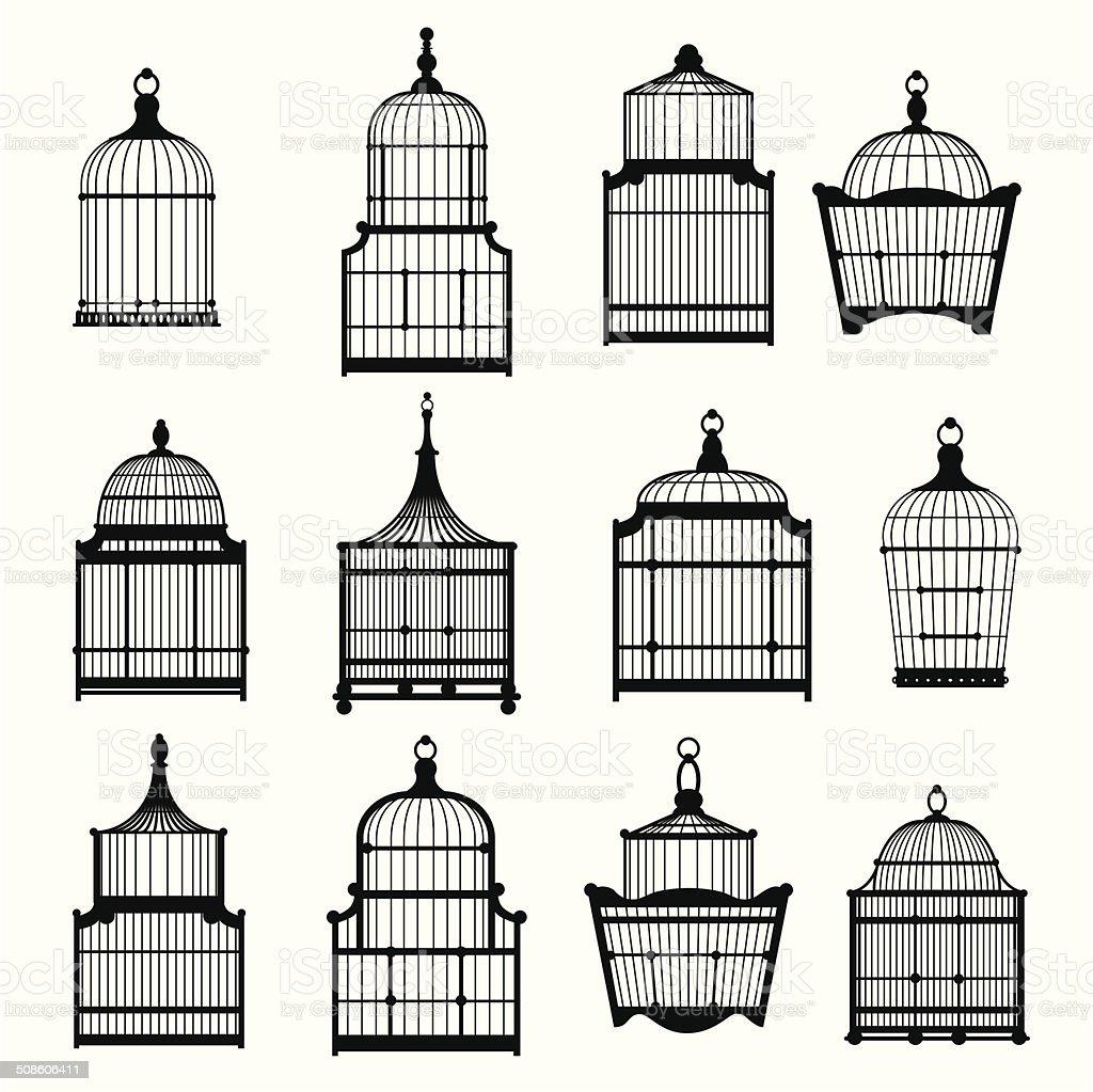 se of vintage birdcages 03 vector art illustration