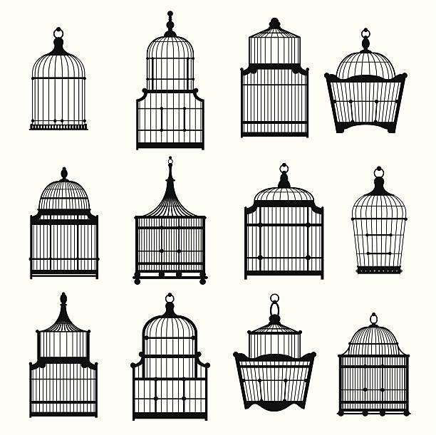 stockillustraties, clipart, cartoons en iconen met se of vintage birdcages 03 - kooi