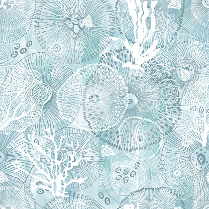 Sea. Abstract seamless pattern on the marine theme on blue watercolor background. Vector. Perfect for design templates, wallpaper, wrapping, fabric and textile.