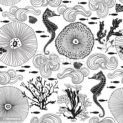 Sea. Abstract seamless pattern on the marine theme. Vector. Perfect for design templates, wallpaper, wrapping, fabric and textile.