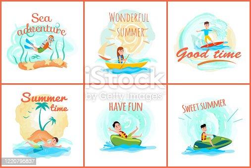istock Sea Adventure and Summer Set Vector Illustration 1220795837