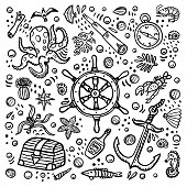 Sea adventures colouring page. Marine hand drawn vector objects. Doodle style vector illustration