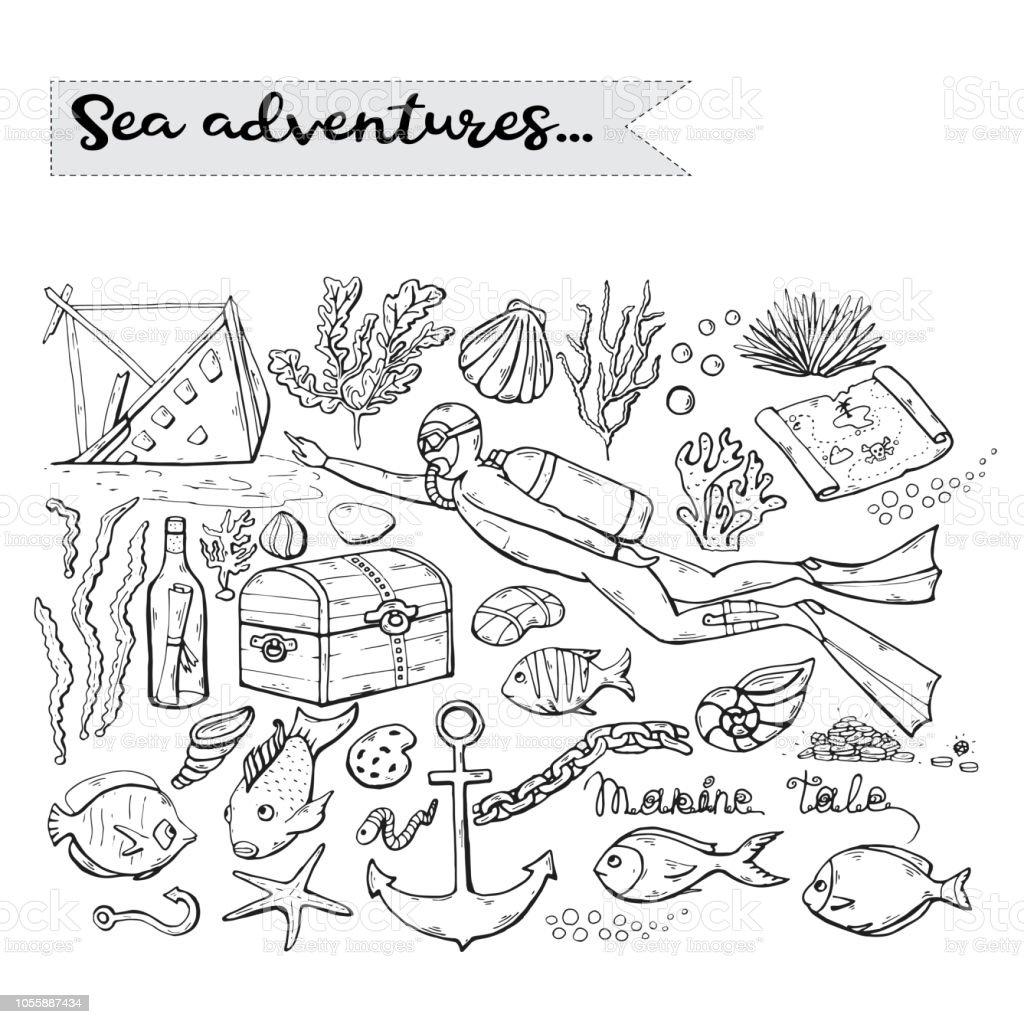 Sea adventures. Vector scuba diver over white. Marine .Underwater vector art illustration