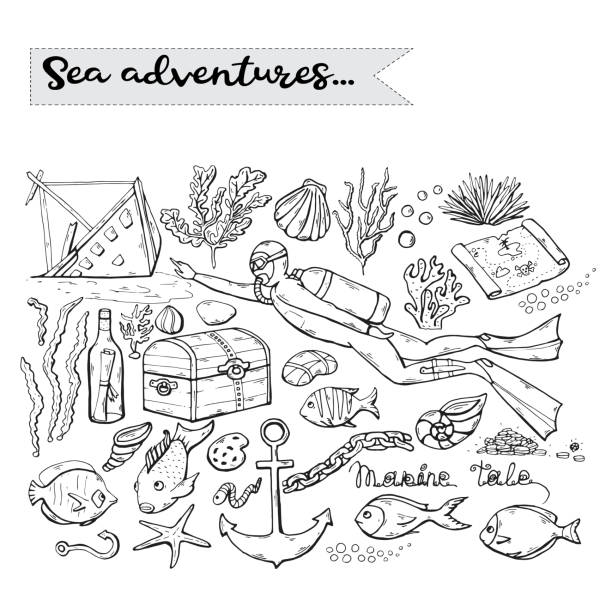 sea adventures. vector scuba diver over white. marine .underwater - treasure map backgrounds stock illustrations
