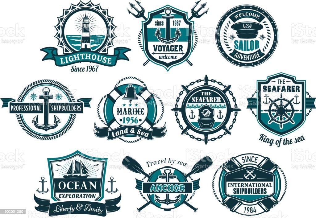 Ancla de mar y Náutico de timón de barco insignia conjunto - ilustración de arte vectorial