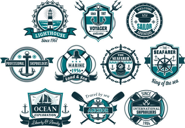Sea anchor and boat helm nautical badge set vector art illustration