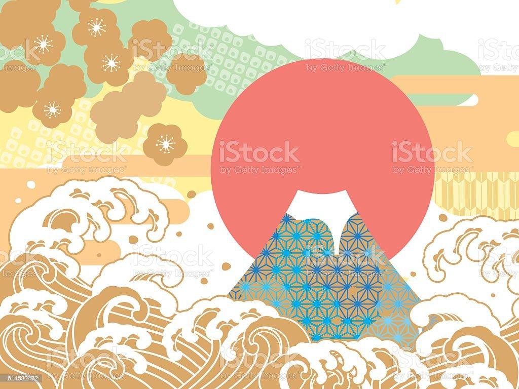 Sea and auspicious illustration of Mount Fuji vector art illustration