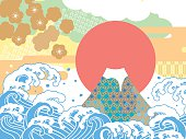Sea and auspicious illustration of Mount Fuji