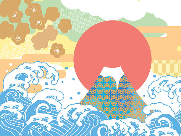 sea and auspicious illustration of mount fuji - chinese new year stock illustrations