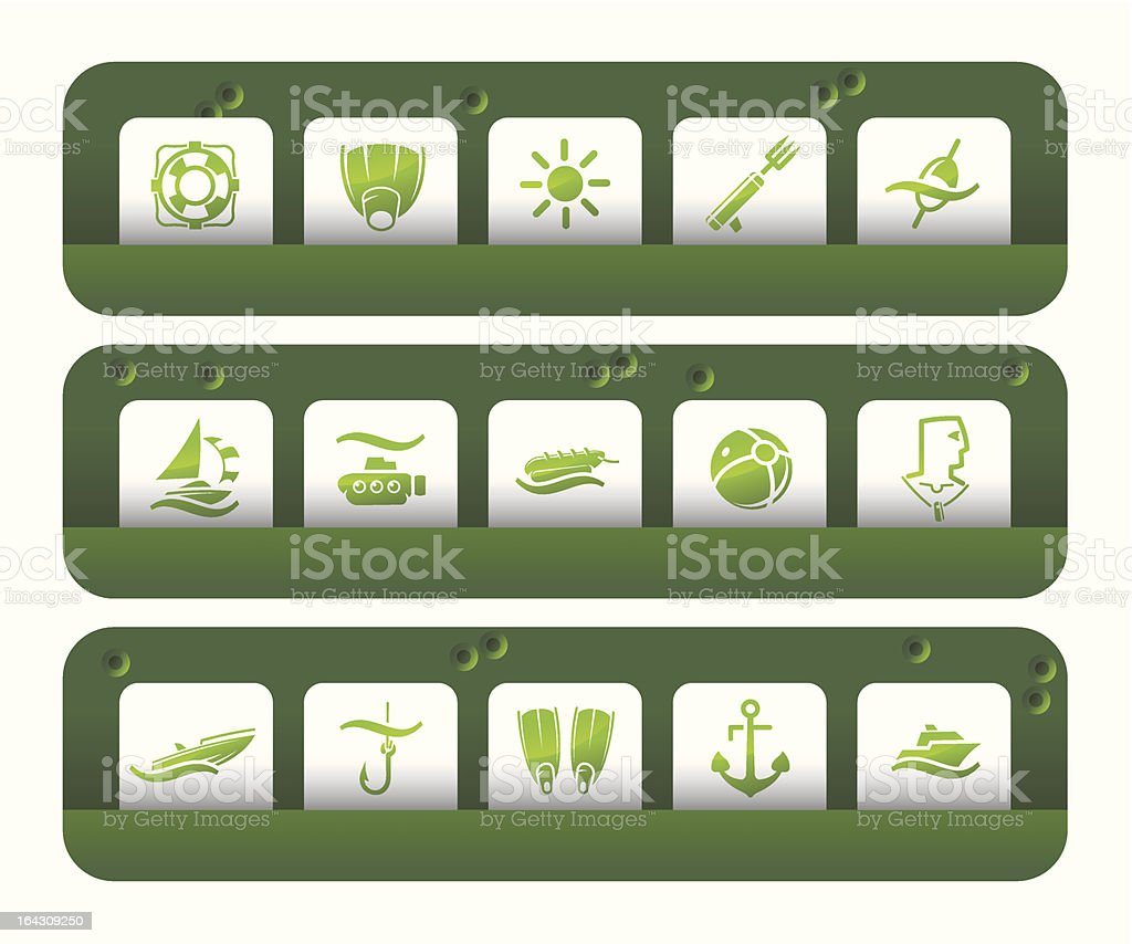 Sea and Beach icons | Shooting-gallery series royalty-free sea and beach icons shootinggallery series stock vector art & more images of adult