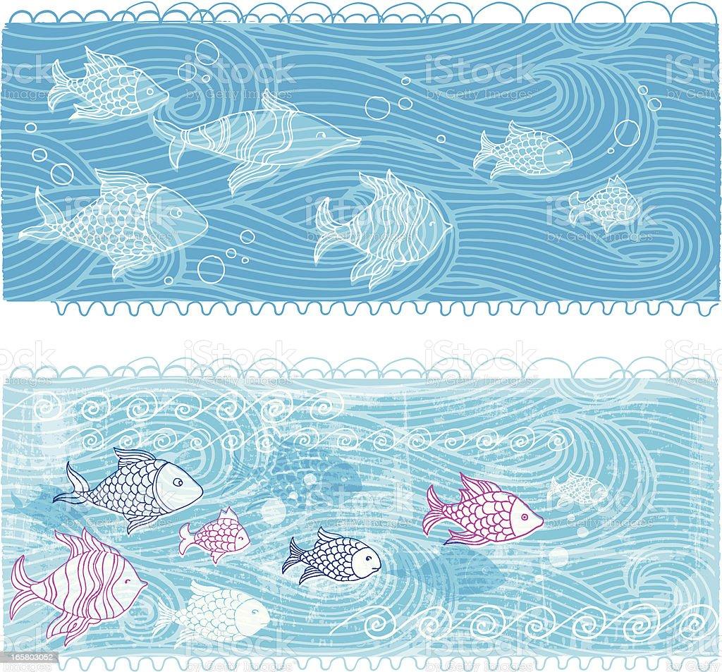 Bannières de la mer et de poisson - Illustration vectorielle