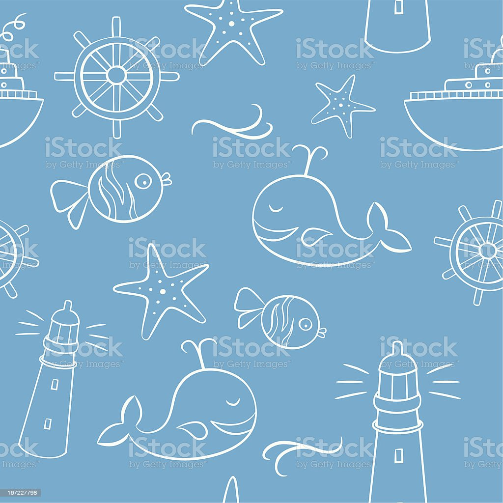 Sea And Holiday Doodles Seamless Pattern royalty-free stock vector art