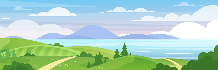 Sea and mountains landscape flat vector illustration