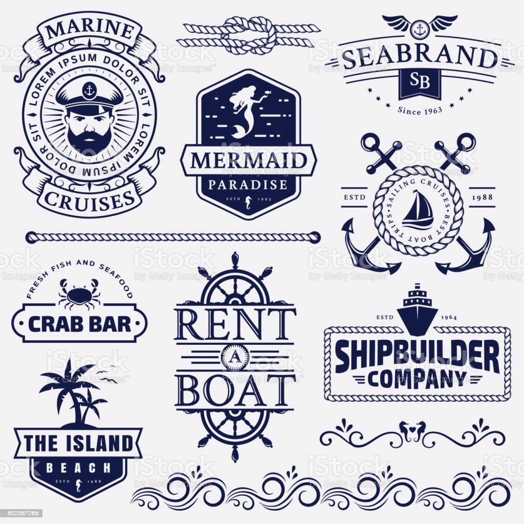 Key Elements Of Nautical Style: Sea And Nautical Badges And Design Elements Stock