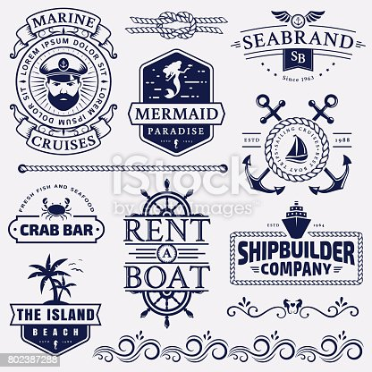Set of sea and nautical typography badges and design elements. Templates for company emblems or web decoration. Marine cruise, beach resort, seafood bar, shipbuilding and other themes. Vector collection.