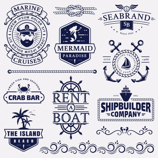 sea and nautical badges and design elements. - boat stock illustrations
