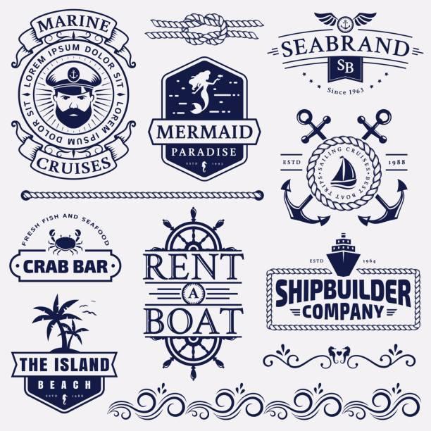 illustrations, cliparts, dessins animés et icônes de mer et insignes nautiques et éléments de conception. - voilier à moteur