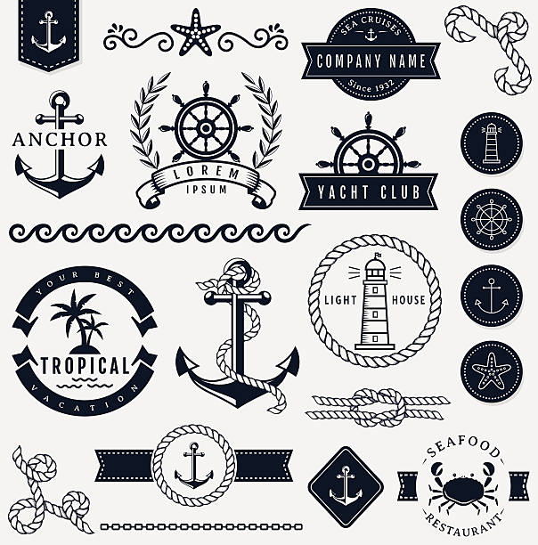 Sea and nautical design elements. Vector set.vectorkunst illustratie