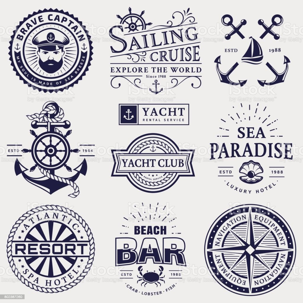 Sea and nautical emblems and badges isolated on white background. vector art illustration