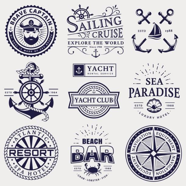meer und nautischen embleme und abzeichen isoliert auf weißem hintergrund. - wasserfahrzeug stock-grafiken, -clipart, -cartoons und -symbole