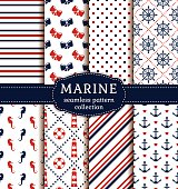 Sea and nautical backgrounds in white, blue and red colors. Sea theme. Seamless patterns collection. Vector set.