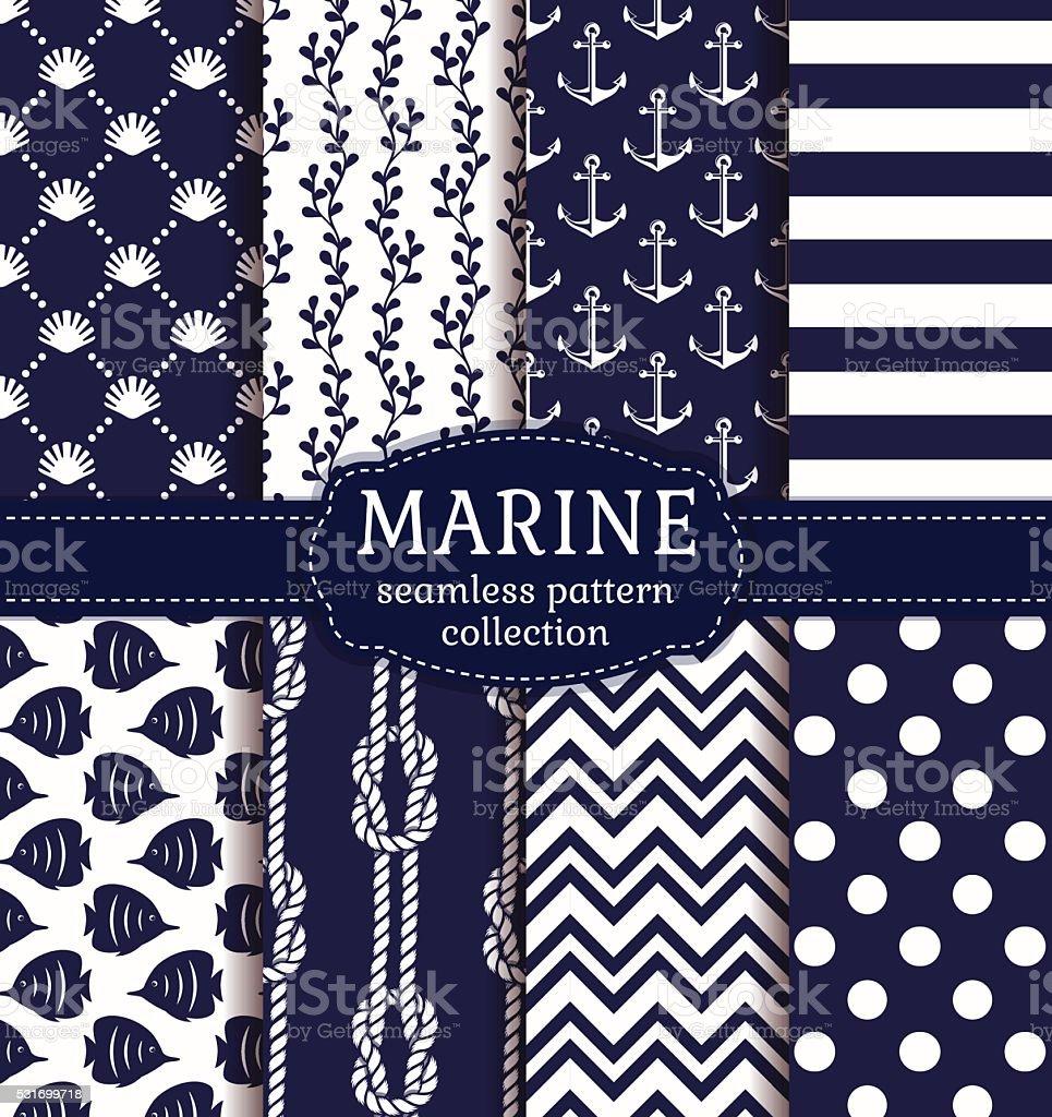 Sea and nautical seamless patterns set. vector art illustration
