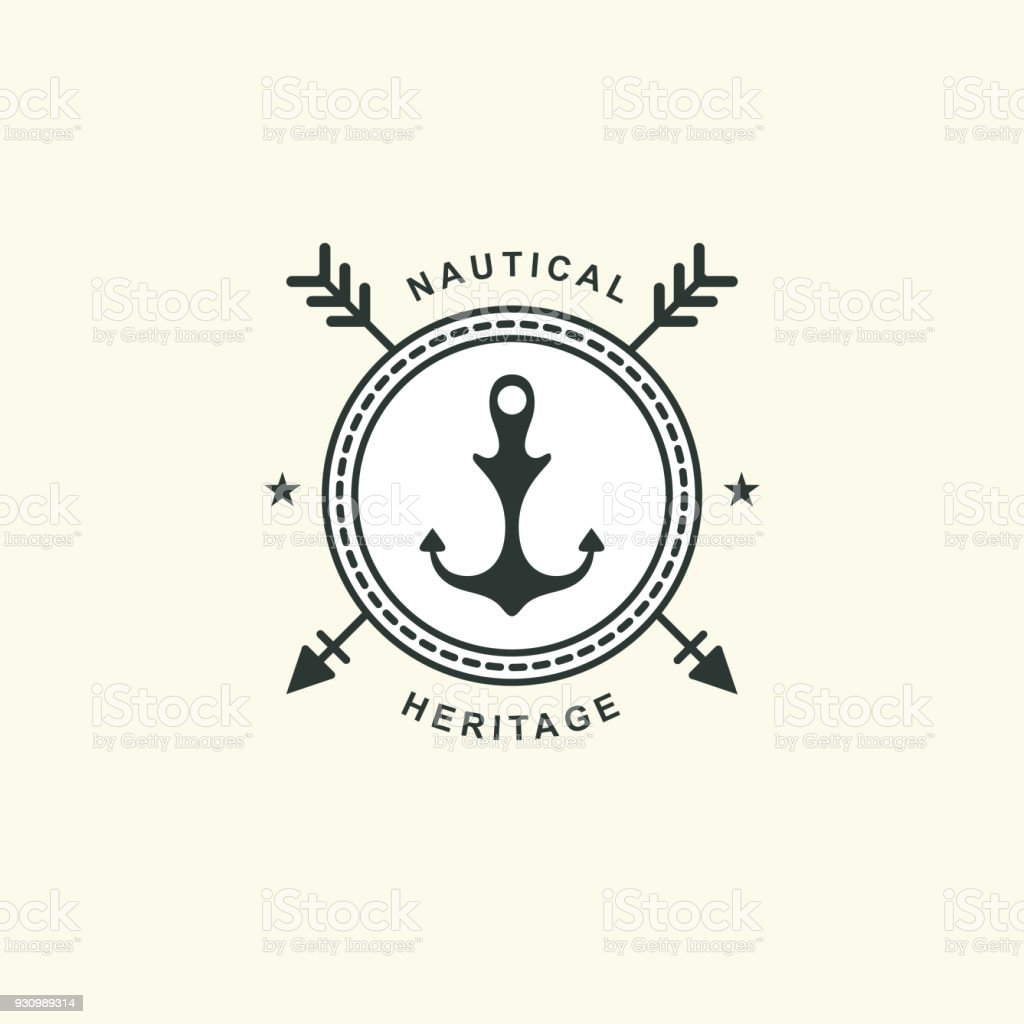 sea and nautical typography badge and design element template for