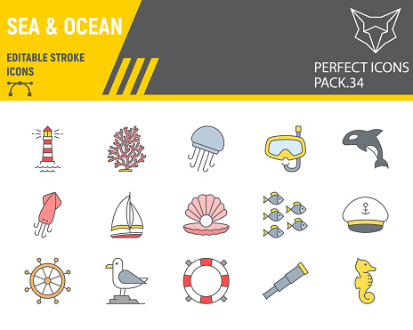 Sea and Ocean color line icon set, ocean animals collection, vector graphics, logo illustrations, Sea vector icons, marine signs, filled outline pictograms, editable stroke.