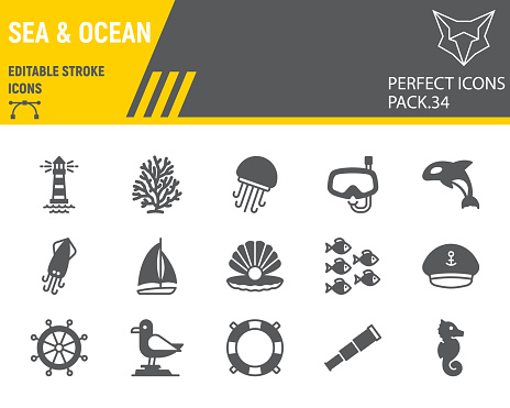 Sea and Ocean glyph icon set, ocean animals collection, vector graphics, logo illustrations, Sea vector icons, marine signs, solid pictograms, editable stroke.
