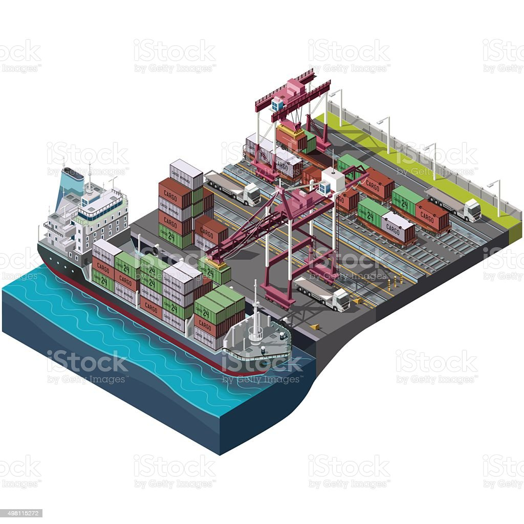 Sea and rail transportation of goods,delivery cargo vector art illustration