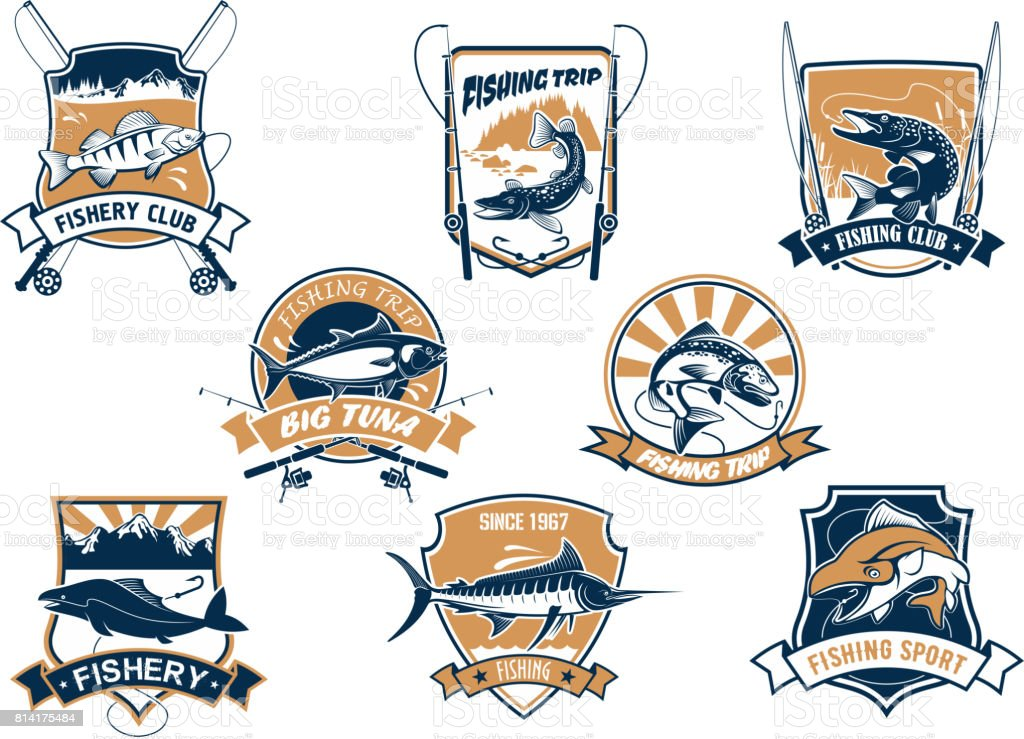 Sea and river fish and rods isolated icons vector art illustration