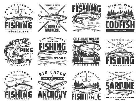Sea and river fishing sport icons