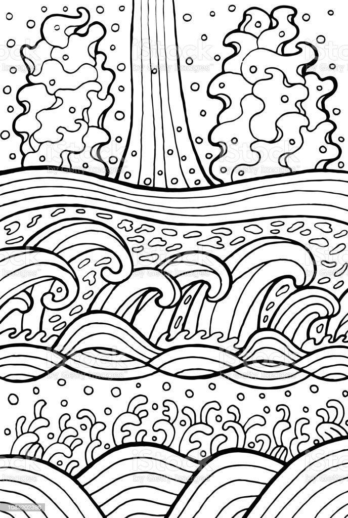 Ilustración De Olas De Mar Y Río Doodle De Arte Para Colorear