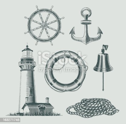 Vintage lithography styled sea and shipping objects. EPS10 vector illustration.