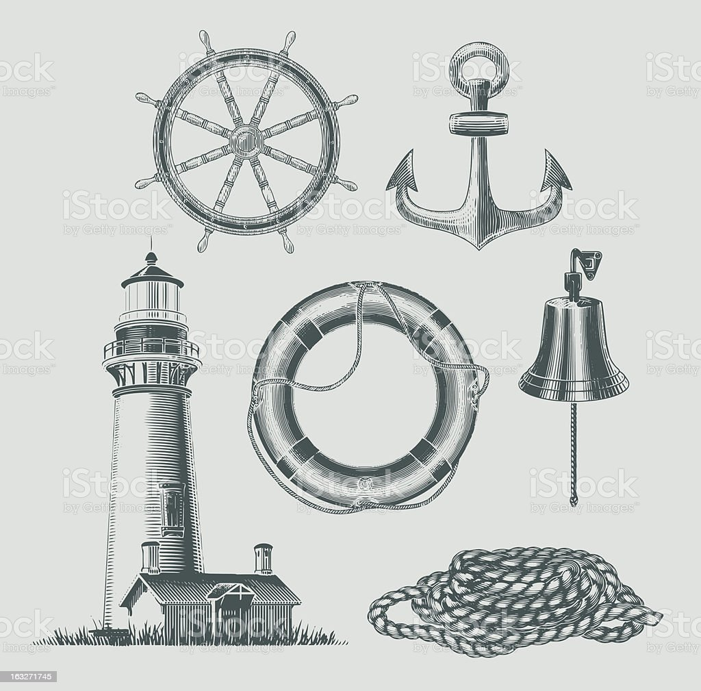 Sea and shipping objects vector art illustration