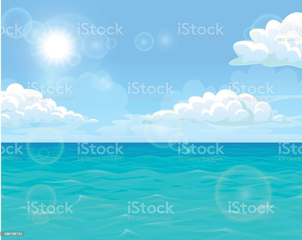 Sea and sun landscape horizontal векторная иллюстрация