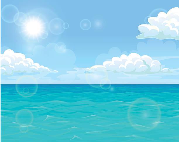 Bекторная иллюстрация Sea and sun landscape horizontal
