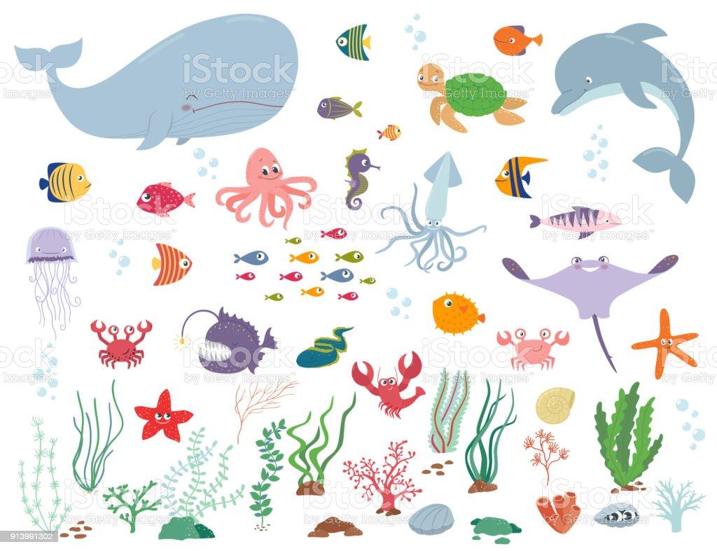 Sea animals and water plants. Cartoon vector illustration