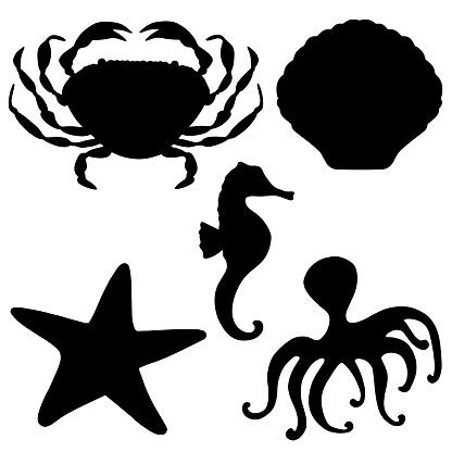 Sea animals black silhouettes set