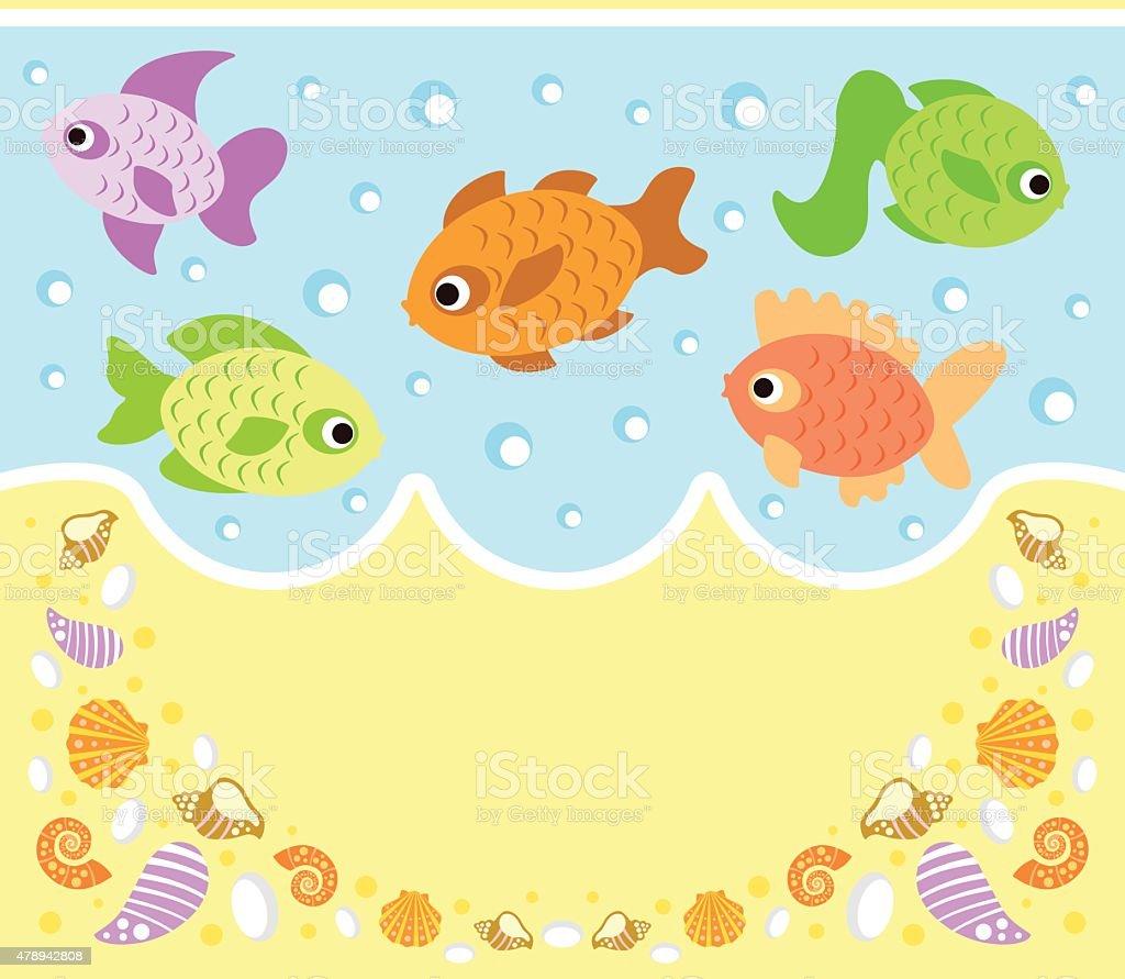 海を背景に魚の動物イラスト のイラスト素材 478942808 | istock