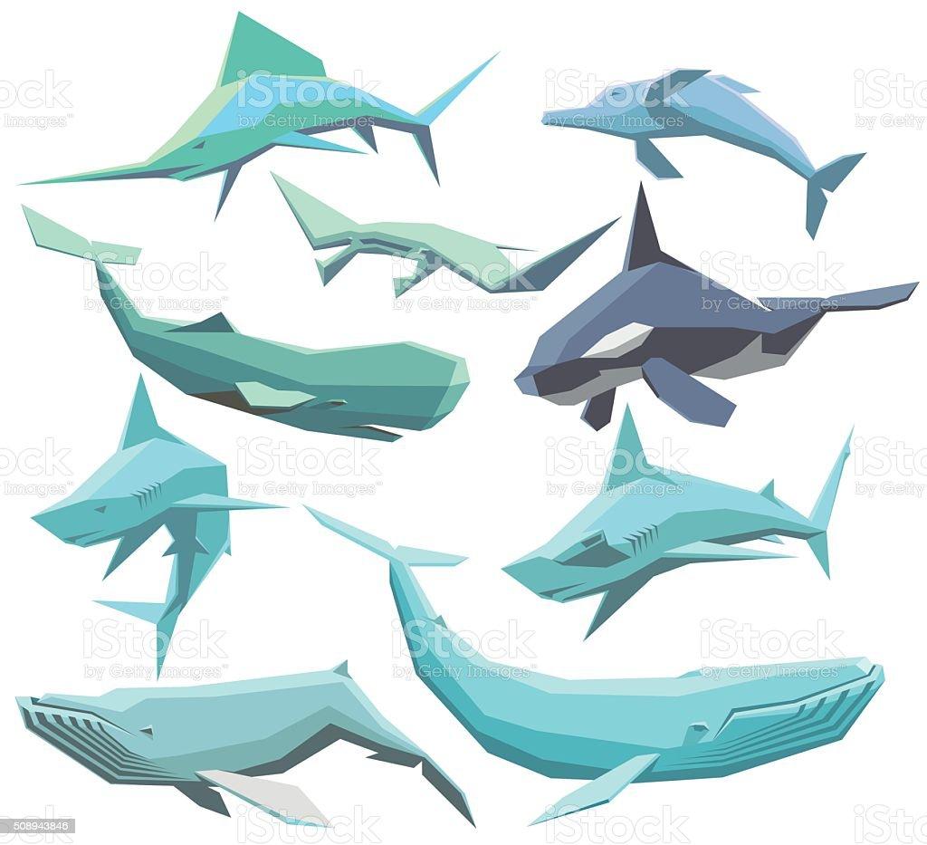 Sea animals collection vector art illustration