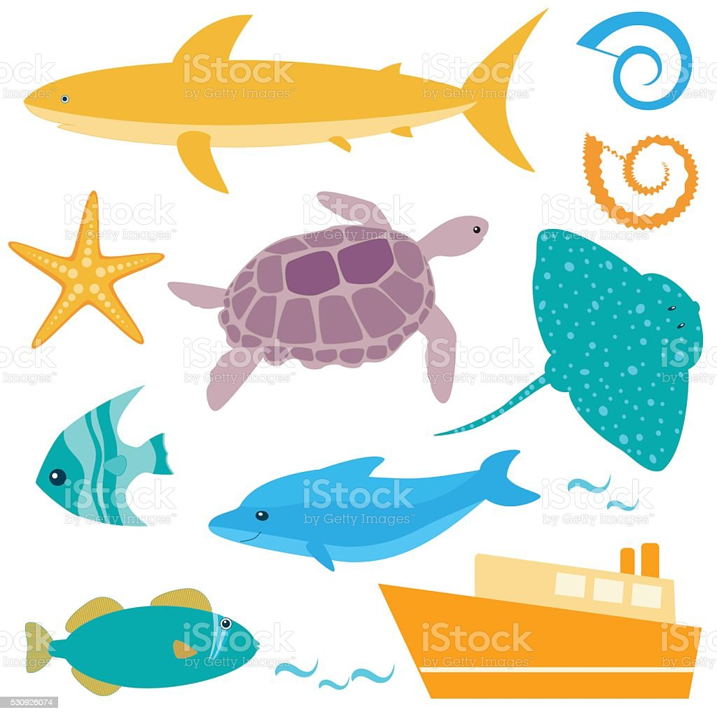 Sea animals collection vector art illustration