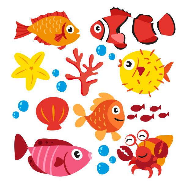 illustrazioni stock, clip art, cartoni animati e icone di tendenza di sea animals collection - pesci