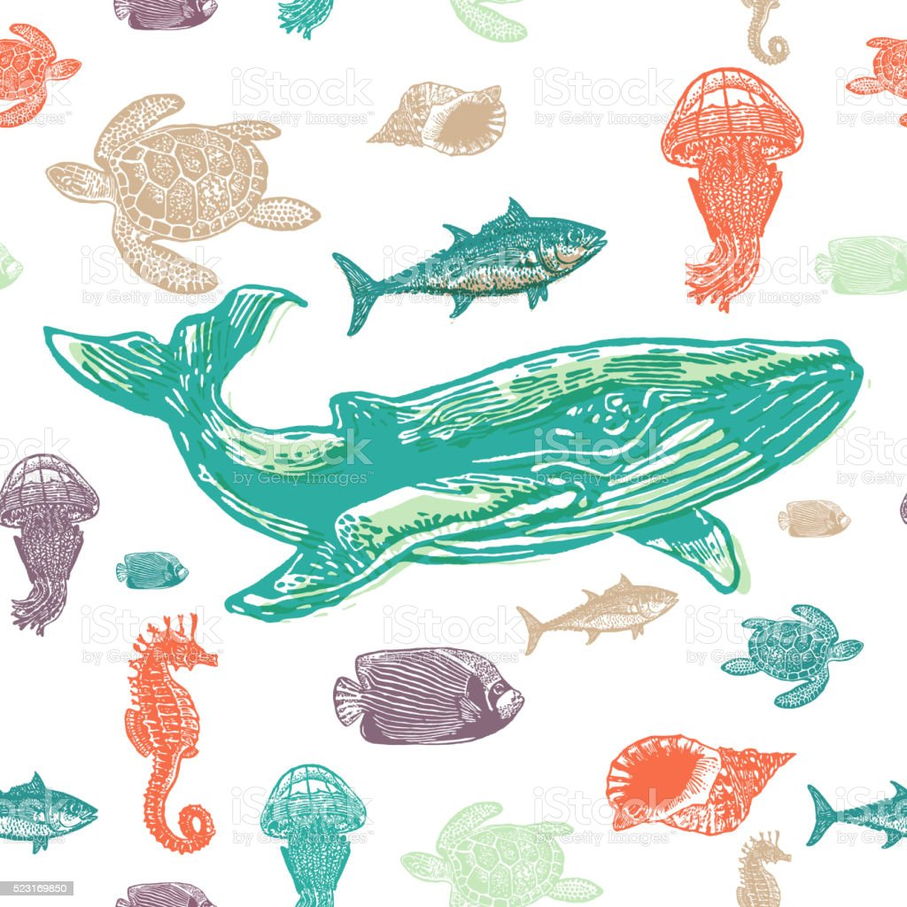 Sea animals colorful seamless vector pattern. vector art illustration