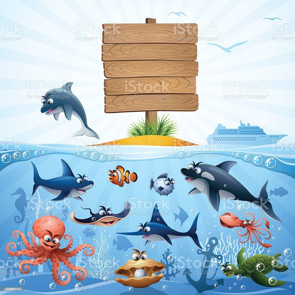 海の動物の家族 ベクターアートイラスト